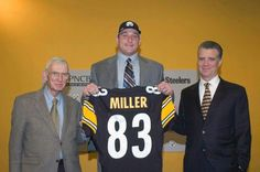 DRAFT PICK IN THE 30Th ROUND 2005 HEATHHHHHHHHHH MILLER, SHOWN WITH ART AND HIS SON DAN NAMED AFTER PAPA STEELER