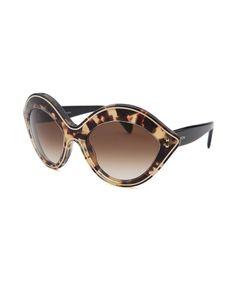 Valentino Women's Fashion Tortoise and Silver-Tone Sunglasses