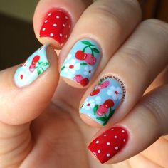 For my nails today I got inspired by a Cath Kidston pattern. I love this one 😍 Dashboard Dreamer and Red-Handed. Cherries and all details are hand painted with acrylic paint. Cute Nail Art, Easy Nail Art, Beautiful Nail Art, Cute Nails, Pretty Nails, My Nails, Cherry Nail Art, Fruit Nail Art, Cath Kidston Nails