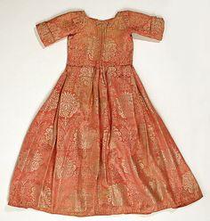 "Silk Child's dress - first 1/4 18th century - 28 1/2"" long European  MET 1989.323"