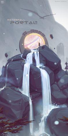 Portals. Waterfall, Ruslan Safarov on ArtStation at https://www.artstation.com/artwork/OP298?utm_campaign=notify&utm_medium=email&utm_source=notifications_mailer