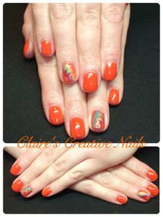 CND Shellac Electric Orange with hand painted Paradise Collection nail art. Inspired by Jeni Smith, CND Education Ambassador. Created by Claire's Creative Nails, Northampton. Call: 07752 397245 to book your appointment.