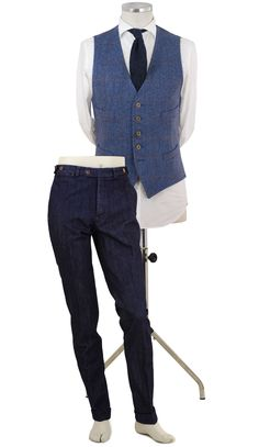 Chaleco espiga azul con pantalón vaquero P10 V 6800 - Marino #espiga #jeans #men