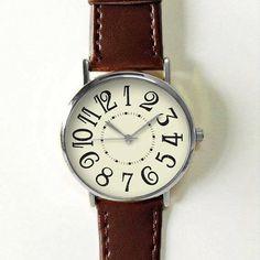 One Hour Advance Watch, Women Watches, Men's Watch, Vintage Style Watch, Leather Watch, Unique Watches, Boyfriend Watch, Gold, Rose Gold