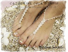 Barefoot sandals handmade crochet barefoot sandals foot jewelry beach wedding bridesmaids foot jewelry PETITE PEARL Catherine Cole BF4- http://catherinecolestudio.com/item_14/Barefoot-Sandals-BF4-wedding-foot-jewelry-PETITE-PEARL-bridal-footless-sandles-beach-wedding.htm
