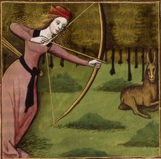 C-Zénobie, reine de Palmyre, chassant (ZENOBIA, queen of Palmyra) -- Giovanni Boccaccio (1313-1375), Le Livre des cleres et nobles femmes, v. 1488-1496, Cognac (France), traducteur anonyme. -- Illustrations painted by Robinet Testard -- BnF Français 599 fol. 86