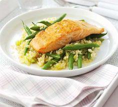 Glazed salmon with green bean & bulghar salad
