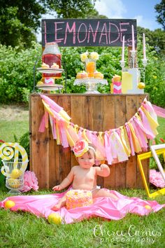 Cheree Carnes Photography-0445 Pink lemonade First birthday 1st Cake smash Pink and yellow Girl Baby Stand Cute