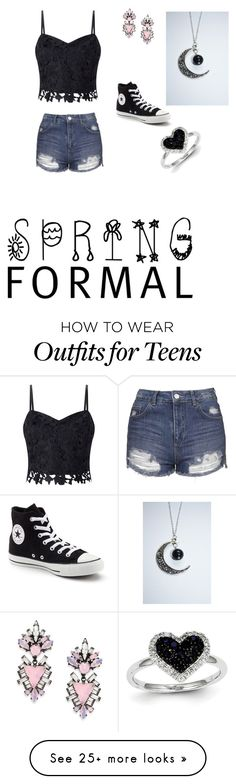 """""""Spring Formal For Teens"""" by hplover-639 on Polyvore featuring Lipsy, Topshop, Converse, Erickson Beamon and Kevin Jewelers"""