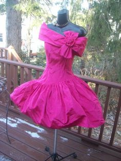 VINTAGE 80s HOT PINK PROM PARTY DRESS GUNNE XS S BEST IN SHOW