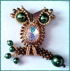 P@tty Perline: My little owl. Brooch and Pendant