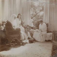 Grand Duchesses Olga Nikolaevna, Anastasia Nikolaevna, Tatiana Nikolaevna e Marie Nikolaevna, o Czarevich Alexei Nikolaevich está sentado no chão junto a seu cachorro Joy, em Tsarskoye Selo, 1915.  Olga Nikolaevna e Tatiana Nikolaevna estão vestindo o uniforme das enfermeiras da Cruz Vermelha.