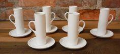 6 Vintage Demitasse Cup & Saucer Set Schmid 60s Porcelain Lagardo Tack Tackett Espresso White Porecelain Mid Century Modern Designer by lynncompany on Etsy