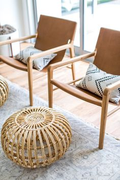 We talked with LA-based interior designer Natalie Myers about her laid-back, California-cool interior style, and how our leather sling armchairs fit the bill for her organic mid-century modern living room. Living Room Decor On A Budget, Home Living, Living Room Chairs, Living Room Furniture, Cabin Furniture, Furniture Movers, Outdoor Furniture, Find Furniture, Furniture Stores