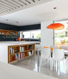 Orange Pendant in a Contemporary Kitchen