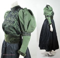 Antique Victorian Beaded Green And Black Silk Three Piece Bustle Gown / Dress
