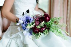 Flowers by Lace and Lilies, Photography by Honey Bee Photography.  Purple Wedding, Fern, Ranunculus, Bridal Bouquet