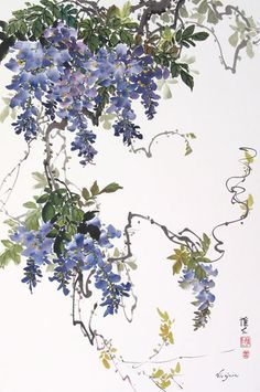 Virginia Lloyd-Davies. Chinese Brush Painting: wisteria triptych with bees and sparrows. (Esta es la pintura central)