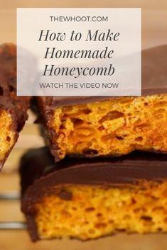 Homemade Honeycomb and Cadbury Crunchie Bars Homemade Honeycomb Recipe {Video} Honeycomb Recipe, Honeycomb Candy, How To Make Honeycomb, Crunchie Bar, Honey Recipes, Sweet Recipes, Cookie Recipes, Dessert Recipes, Cookies