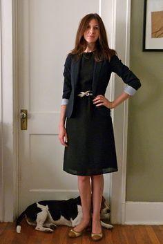 black dress and navy blazer
