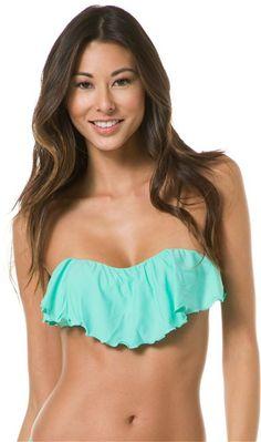 O'NEILL SOLID RUFFLE BIKINI TOP SWIMWEAR in blue. http://www.swell.com/Womens-Swimwear