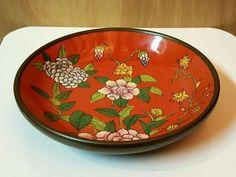 ACF JAPANESE BRASS ENCASED PORCELAIN BOWL ~ Floral Design Hand Painted Hong Kong #ACF #Porcelain #Japan