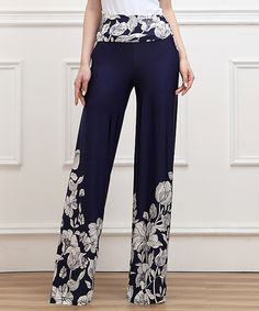 Look at this Navy Floral High-Waist Palazzo Pants on #zulily today!