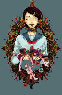 abstract bad_id bangs black_hair closed_eyes colorful flower fuura_kafuka hair_ornament hairclip happy holding laughing legs noose open_mouth sayonara_zetsubou_sensei school_uniform serafuku severed_limb short_hair simple_background smile solo swept_bangs