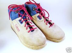 Vtg-1990s-Multi-Color-Suede-Womens-High-Top-Athletic-Shoes-Coleman-Sneakers-Gym