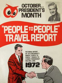 """1972 Red Owl """"People to People"""" Travel Report Owl Food, Travel Report, Red Owl, Booklet, Markers, Compliments, Childhood, Tees, People"""