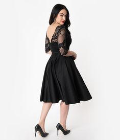 1e0f54362 1950s Cocktail Dresses, Party Dresses Vintage Diva 1950S Style Black Lace  Sleeved Leonora Swing Dress