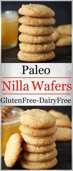"Paleo Nilla Wafers-all the same flavors as the store bought variety- mildly sweet, buttery, and delicious- but made healthier. Gluten free, dairy free, and naturally sweetened. Can substitute Ghee Butter for other dairy free ""butter"". Dessert Sans Gluten, Low Carb Dessert, Gluten Free Sweets, Paleo Dessert, Healthy Sweets, Dessert Recipes, Fall Desserts, Healthy Recipes, Dairy Free Recipes"
