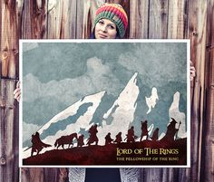 The fellowship of the ring poster. Lord of the Rings poster. Watercolor poster. Handmade poster.