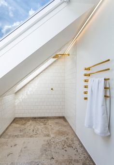 Whether you motivation of a soothing bath with spa-like paint colors or a bold bath afterward a risk-taking color scheme, our gallery of bathroom color is positive to inspire. Small Bathroom Window, Attic Bathroom, Bathroom Faucets, Attic Shower, Simple Bathroom, Bathroom Ideas, Attic Renovation, Attic Remodel, Bad Inspiration