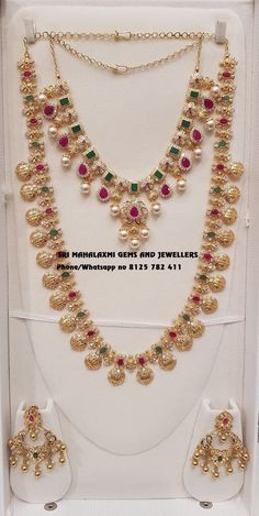 Presenting here is Ram Parivaar Haar with matching Necklace and Chandbali.Contact no 03 January 2019 Pearl Jewelry, Indian Jewelry, Wedding Jewelry, Gold Jewelry, Beaded Jewelry, Wedding Ring, Jewelery, Gold Necklaces, Gold Bangles