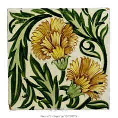 Carnation flowers tile, by William De Morgan. London, England, 19th century