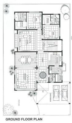 3d House Plans, Model House Plan, Dream House Plans, Dream Home Design, Home Design Plans, Villa Design, House Design, Le Riad, Duplex Plans