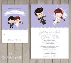 Cartoon Bride & Groom on the Swings Wedding Invitation Printable |  Happy Couple | Funny wedding invitation