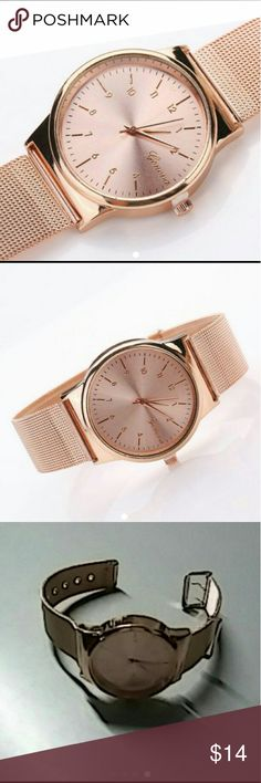Rose Gold Geneva Stainless Steel Watch Feature:     100% brand new and high quality.     Quantity: 1PC     Gender: Women     Movement: Quartz Analog     Band Material: Alloy     Band Color: Rose Gold     Case Material: Stainless Steel     Face Color: Rose Gold     Watchcase Diameter: 3cm     Band Length: 23cm     Band Width: 2cm     Adjustable Band  Package Includes:     1PC Fashion Women's Classic Rose Gold Geneva Quartz Stainless Steel Watch  New in original packaging Geneva Jewelry