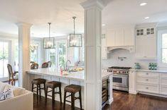 Consider Installing Kitchen Islands To Go With Your Unique Kitchen Design – Home Dcorz Kitchen Post, Big Kitchen, Kitchen Redo, Living Room Kitchen, Kitchen Remodel, Dining Rooms, Awesome Kitchen, Kitchen Renovations, Design Kitchen