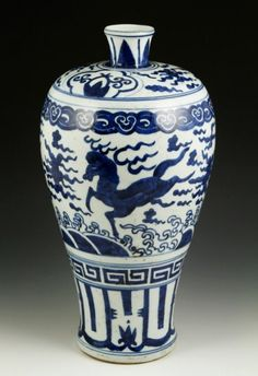 "Blue and white porcelain Mei vase, China, Ming Dynasty, decorated with sea monsters, 14"" h."