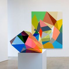Sculpture and Painting by Gemma Smith. I'm seeing this style more and more in all aspects of design. Usually not to this degree but a geometric pane here, a little asymmetry there, it all ads up to the future of design. #TASD