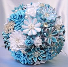 Fabric Wedding Bouquet Brooch bouquet Breath Blue Gray by LIKKO