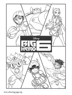 Have fun coloring this amazing Disney Big Hero 6 coloring page. Here are the characters Baymax, Hiro, GoGo Tomago, Wasabi, Honey Lemon and Fred!