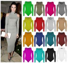 Womens-Cold-Shoulder-Bodysuit-Ladies-Slash-Neck-Long-Sleeve-Cut-Out-Leotard-Top