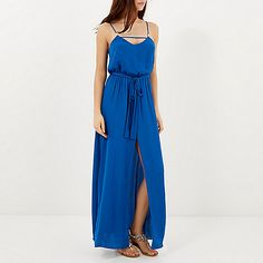 Blue satin maxi dress - maxi dresses - dresses - women