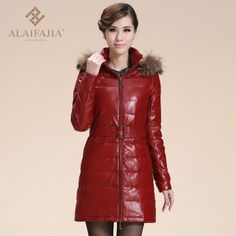 Guaranteed 100% genuine Leather 2013 with a hood disassembly  clothing  female medium-long down coat   down Free Shipping