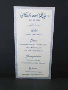 2 Layer Dinner Menu with Silver Glitter