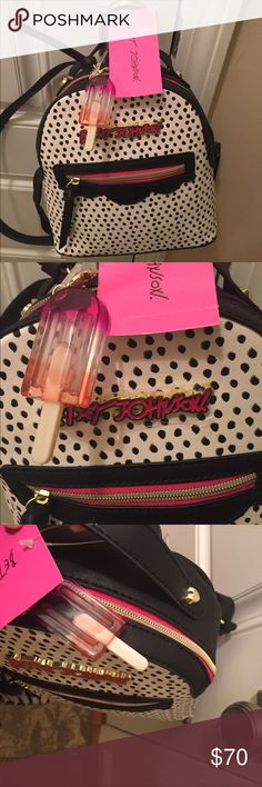 Betsey Johnson NWT backpack 🎒 purse 👛 & lollipop Just too cute. It's a keeper but I'll leave it up for a few days in case someone is really wanting it for their collections! 🖤💗⚪️ NWT see pics! Betsey Johnson Bags Backpacks