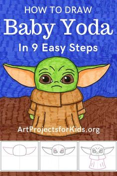 Draw Baby Yoda - Art Projects for Kids - Draw Baby Yoda Learn how to draw a Baby Yoda with this fun and easy art project for kids. Simple step by step tutorial available. Easy Drawings For Beginners, Easy Drawings For Kids, Simple Drawings, Drawing Ideas Kids, Best Drawing For Kids, Drawing Classes For Kids, Learning To Draw For Kids, Summer Drawings, Easy Art For Kids